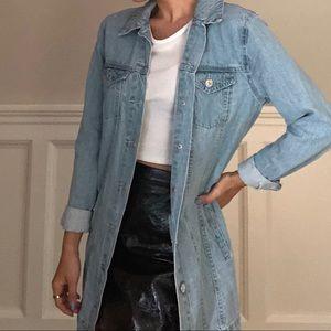 long light wash denim jacket